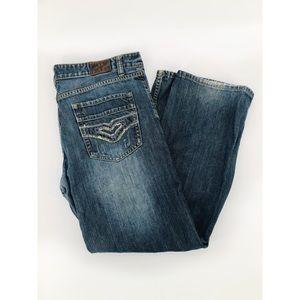 FLYPAPER | Distressed Boot Cut Jeans Denim W34 L30